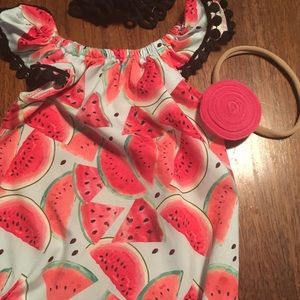 One Pieces - WATERMELON ROMPER WITH TWO HEADBANDS